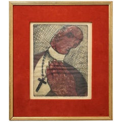 """Modernist Don Shoemaker """"El Padre"""" Signed Color Etching Limited Edition of 22"""