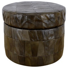 Dark Olive Patchwork Leather Storage Ottoman by De Sede