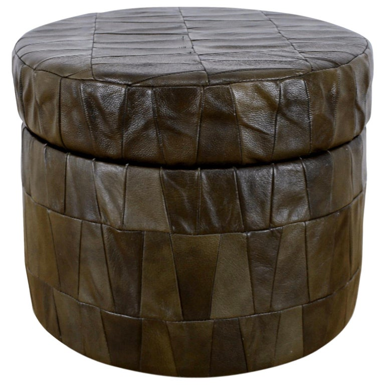 Swell Dark Olive Patchwork Leather Storage Ottoman By De Sede Alphanode Cool Chair Designs And Ideas Alphanodeonline