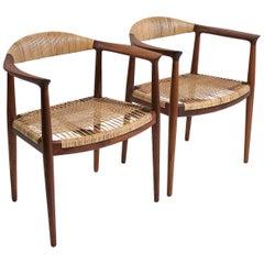 "Hans Wegner ""The Chair"" Early Production Teak & Cane JH-501 Pair Johannes Hansen"