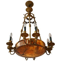 Rare Early French 20th Century Art Deco Bronze and Alabaster Chandelier