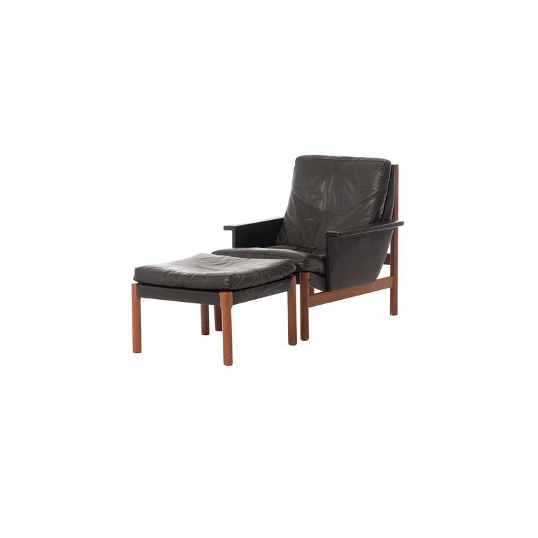 Danish Modern Easy Chair and Ottoman in Black Leather