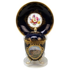 Meissen Lidded Egg Cup Saucer Castle View Dresden Germany Flower Paintings, 1870