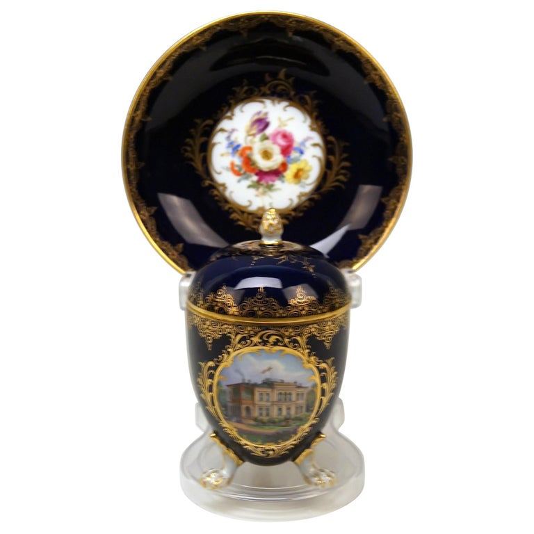 Meissen Lidded Egg Cup Saucer Castle View Dresden Germany Flower Paintings, 1870 For Sale