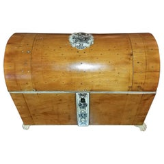 Anglo-Indian Vizagapatam Domed Sandalwood and Faux Ivory Stationery Box