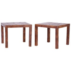 Pair of Midcentury Leather Clad Parson's Tables