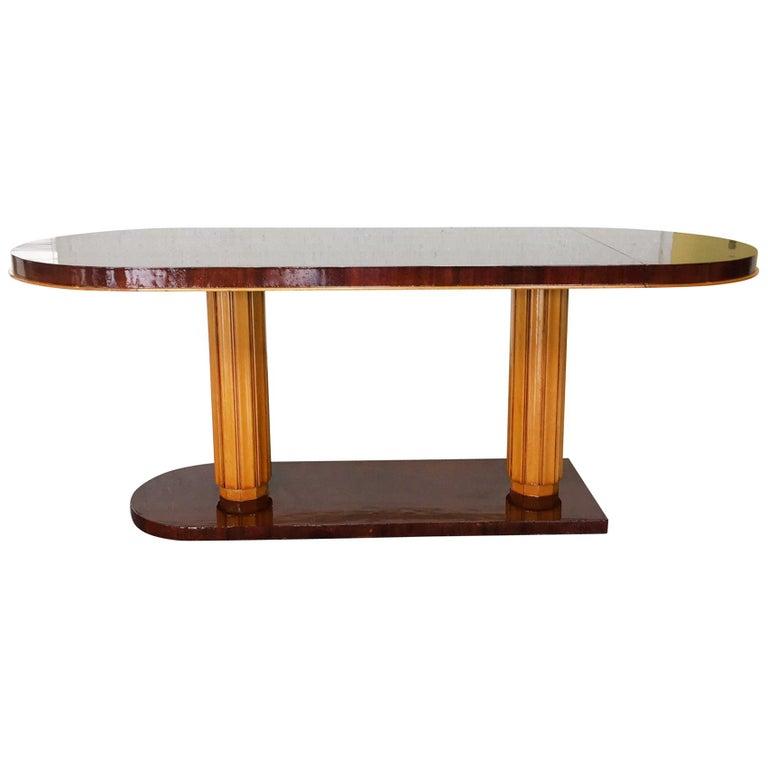 Gilbert Rohde Art Deco Oval Drop-Leaf Desk For Sale