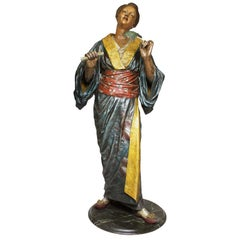 French 19th Century Polychromed Life-Size Figure of a Geisha, Charles Massé