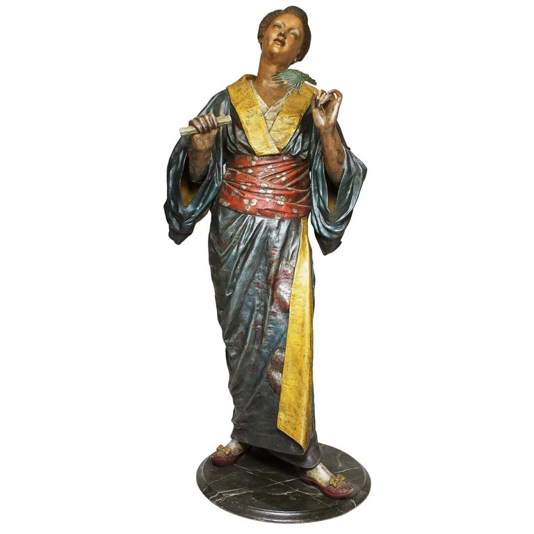 French 19th Century Polychromed Life-Size Figure of a Geisha, Charles Massé For Sale
