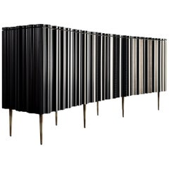 Contemporary Crafted Silver and Darkened Wood Molding Sideboard by Luis Pons
