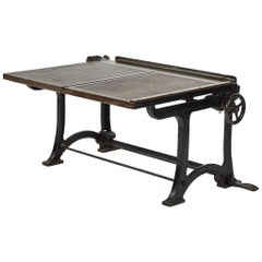 Adjusting Drafting Table in Iron with Mahogany Top