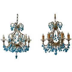 Pair of Elegant Italian Chandeliers with Turquoise Stone