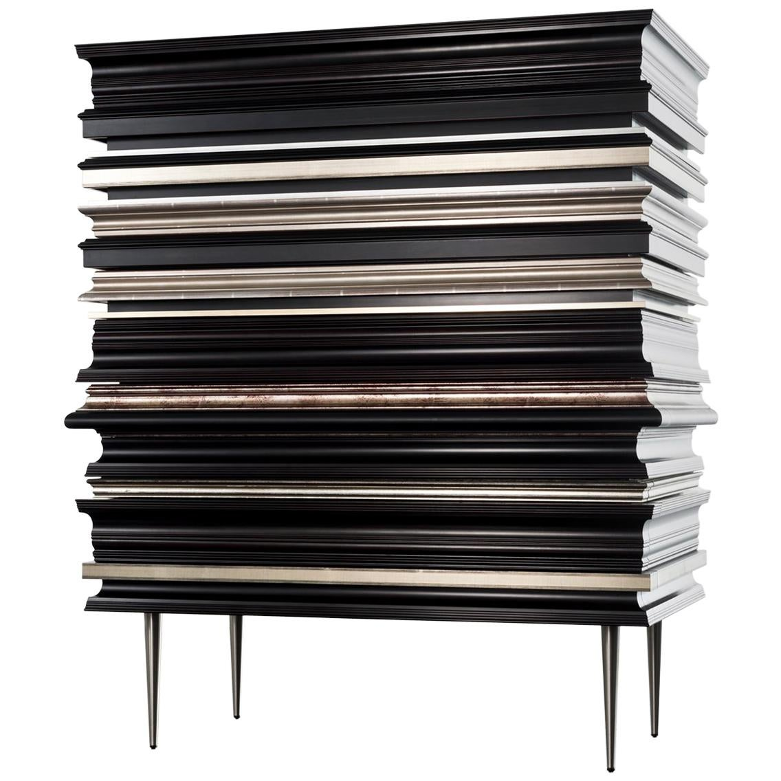 Contemporary Crafted Silver and Darkened Wood Molding Dresser by Luis Pons