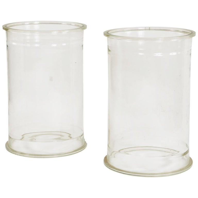 Pair of Glass Cylinders or Plinths For Sale