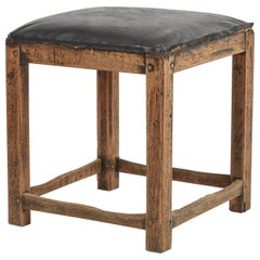Rustic Stool with Black Upholstered Top