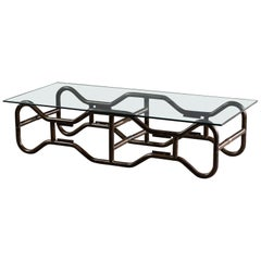 Modern French Industrial Steel Frame Glass Top Coffee Table, circa 1970