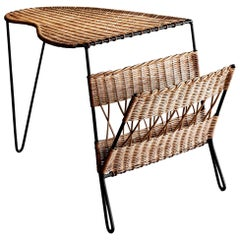 French Wicker Piano Shaped Table