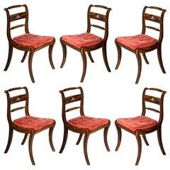 Set of Six Regency Painted Klismos Chairs