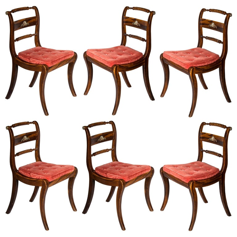 Set of Six Regency Painted Klismos Chairs For Sale