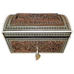 19th Century Anglo Indian Heavily Carved Padouk and Sadeli Double Caddy