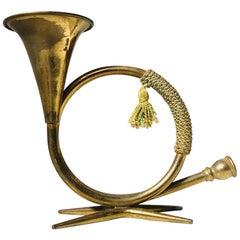 Austrian Modern Hunting Horn Candlesticks in Brass, 1950s