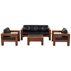 French Modern Salon Set with Sofa, Table, and Two Chairs