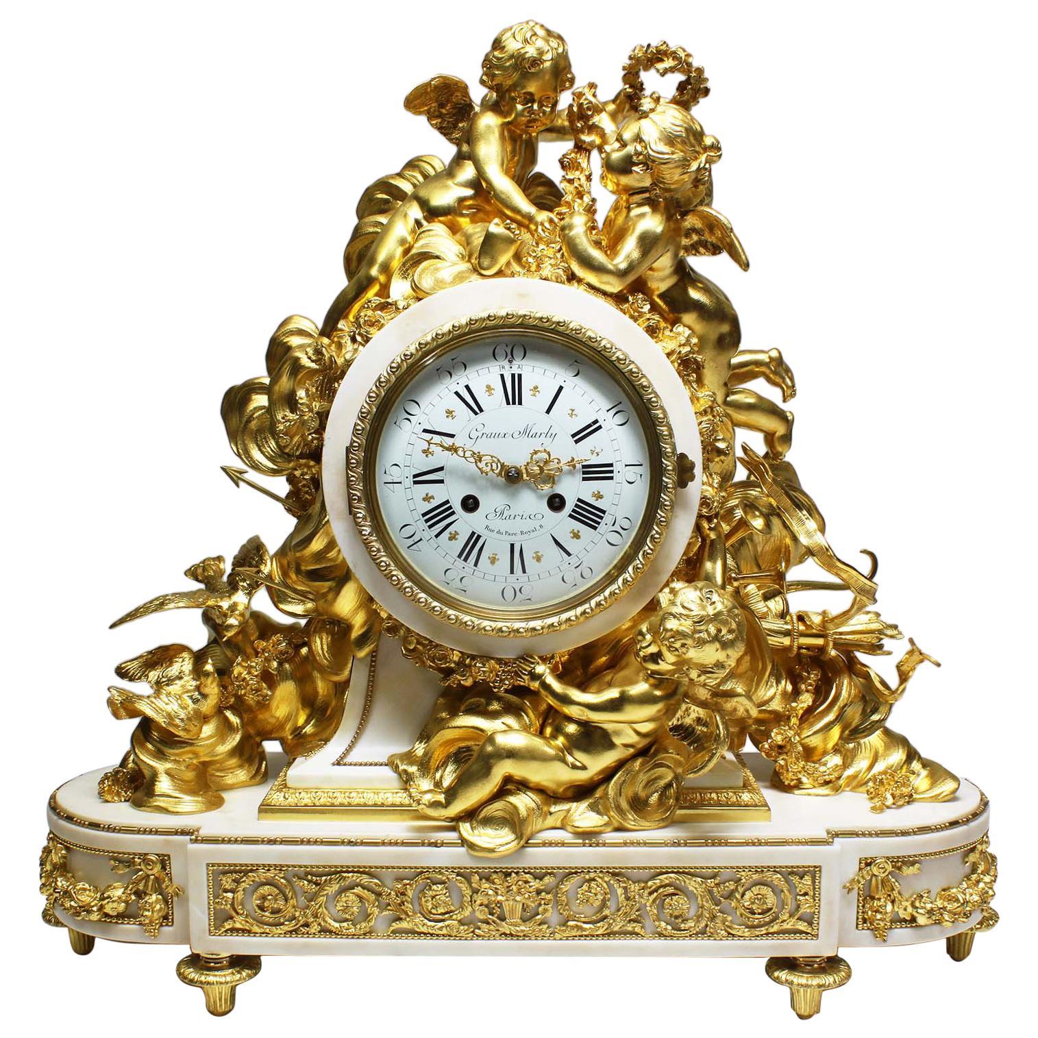 Palatial 19th Century Louis XV Style Ormolu Mantel Cherub Clock Attr. Beurdeley