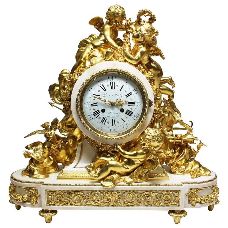 Palatial 19th Century Louis XV Style Ormolu Mantel Cherub Clock Attr. Beurdeley  For Sale