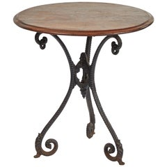 19th Century French Iron Table with Mahogany Top