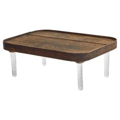 Wooden Tray Top on Glass Legs