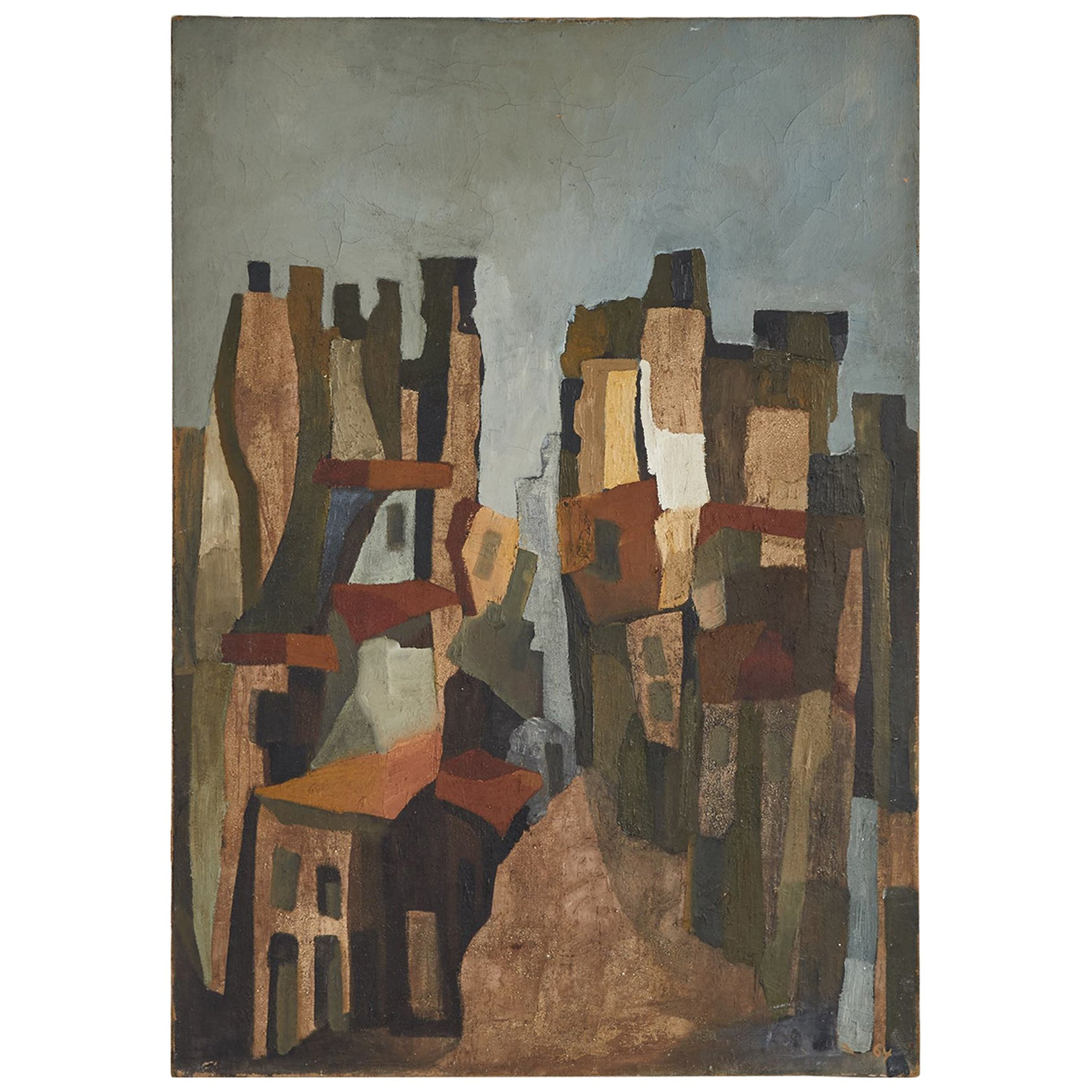 1940s Abstract French Oil Painting