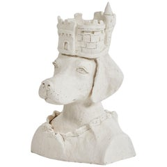 Dog Sculpture with Crown in Plaster