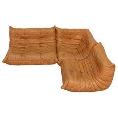 Ligne Roset 'TOGO' Butterscotch Leather Corner Sectional Sofa