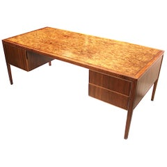 Mid-Century Modern Burled-Top Walnut Executive Desk by Stow Davis