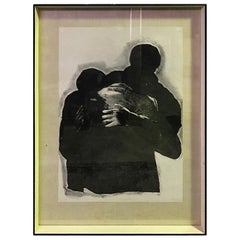 "Rafael Canogar Black and White Limited Edition Lithograph ""EL Abrazo"""