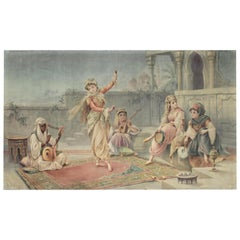 Large Antique Anglo-Indian Painting on Woven Fabric Portraying A Female Dancer