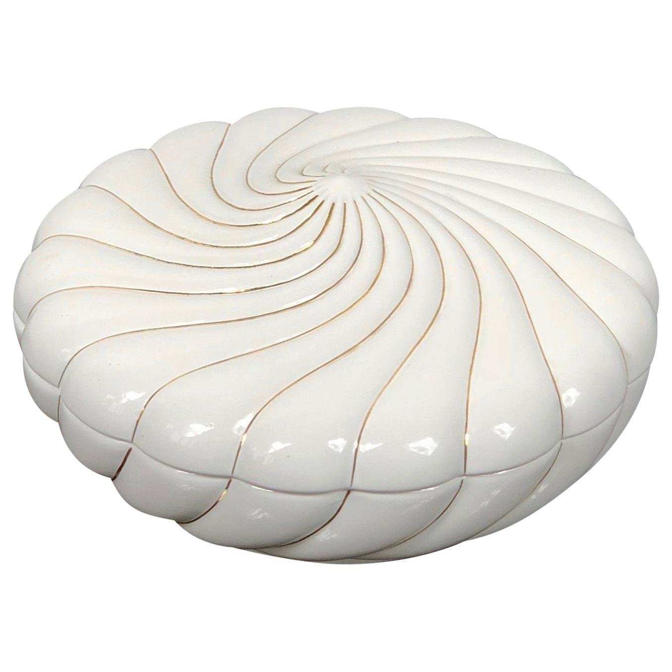"""Tommaso Barbi for """"b Ceramiche"""" White Ceramic Box, Italy, 1970s"""