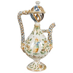 18th Century French Moustiers Faience Ewer