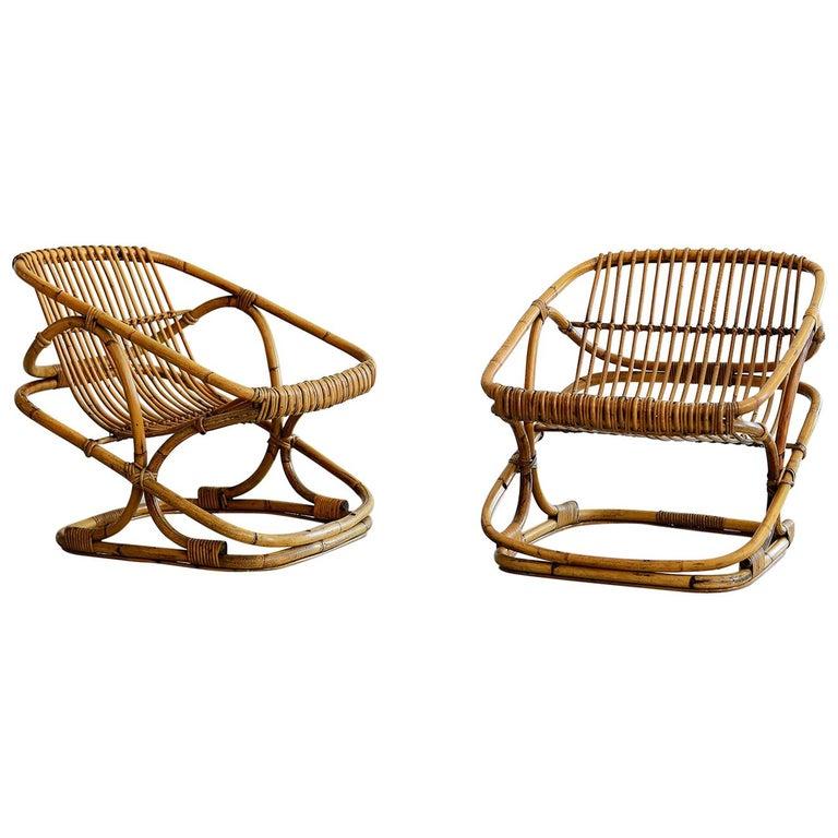 Bonacina Square Rattan Chairs For Sale