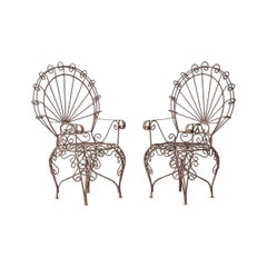 Pair of Salterini Iron Peacock Salesman Sample Chairs