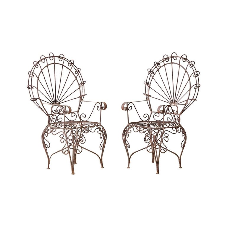 Pair of Salterini Iron Peacock Salesman Sample Chairs For Sale