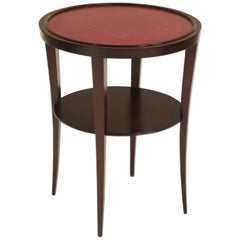 Tommi Parzinger for Charak Modern Mahogany and Burgundy Leather Side Table