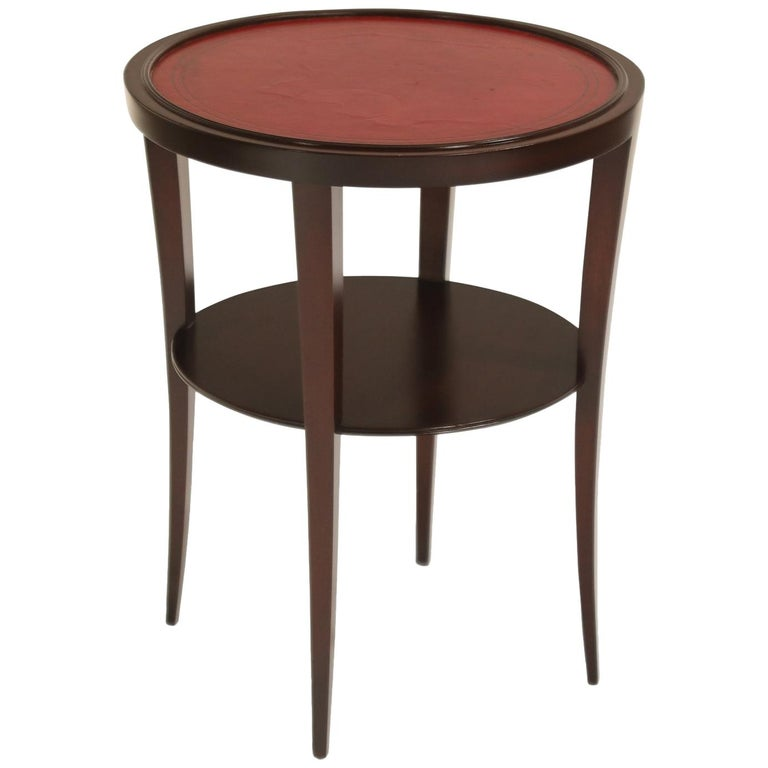 Tommi Parzinger for Charak Modern Mahogany and Burgundy Leather Side Table For Sale
