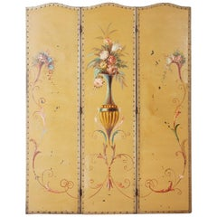 English Victorian Adam Style Painted Floor Screen