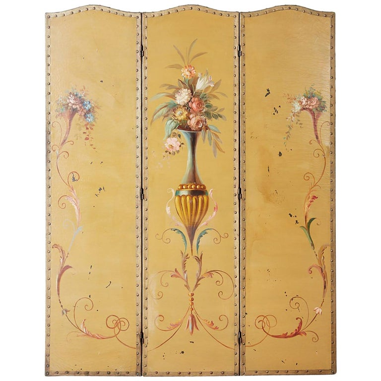 English Victorian Adam Style Painted Floor Screen For Sale