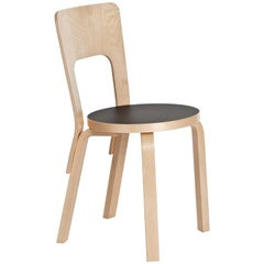 Authentic Chair 66 in Lacquered Birch with Linoleum Seat by Alvar Aalto & Artek