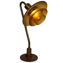 Poul Henningsen 2/2 Snowdrop Desk Lamp in Brass with Amber Colored Glass, 1930s