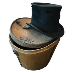 Leather Hat Box with High Hat, 19th Century