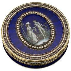 Antique French 18-Karat Gold and Hand Painted Enamel Bonbonniere Box, circa 1800