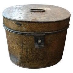 Metal Hatbox in trompe l oeil, 19th Century Empty